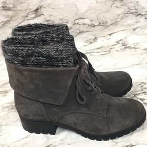 Lucky Brand Heylie Suede Bootie with Knit Collar